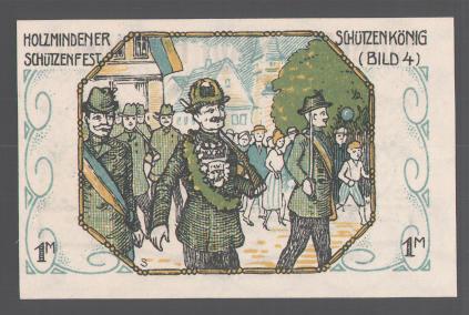 Notgeld Holzminden 1922, 1 Mark, Stadtwappen, Holzmindener Schützenkönig 1