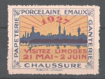 Reklamemarke Papterie Porcelaine Emaux Ganterie Chaussure Limoges 1927, Stadtsilhouette 0