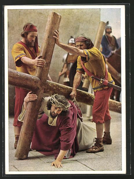 AK Oberammergau, Passionsspiele 1950, Kreuzweg, Jesus wird von den Wachen gepeinigt 0