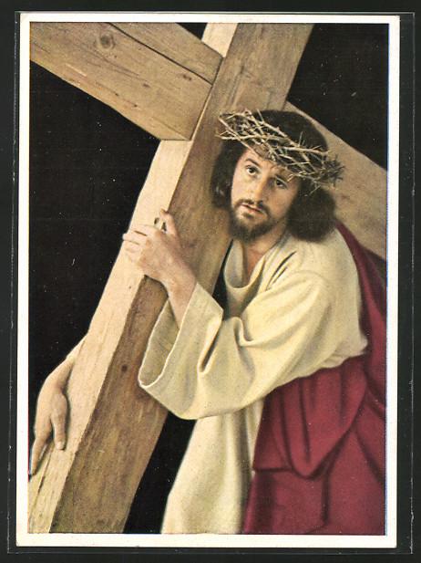 AK Oberammergau, Passionsspiele 1950, Kreuztragender Jesus, Darsteller Anton Preisinger  0