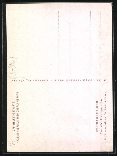 AK Oberammergau, Passionsspiele 1950, Kreuztragender Jesus, Darsteller Anton Preisinger  1
