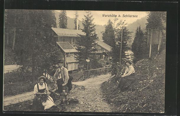 AK Schliersee, Wanderer an der Wurzhütte 0