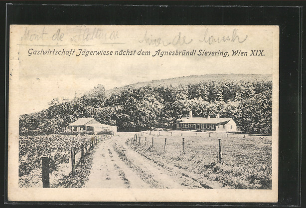 AK Wien XIX, Gastwirtschaft Jägerwiese nächst dem Agnesbründl Sievering 0