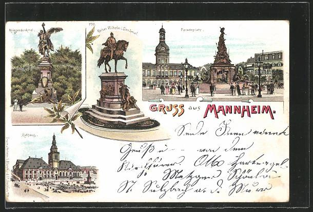 Lithographie Mannheim, Paradeplatz, Rathaus, Kriegerdenkmal & Kaiser Wilhelm I. Denkmal 0