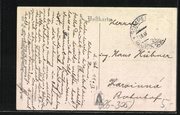 Künstler-AK Fr. Jung: Krone am Grund des Rheines, Ritter in Rüstung 1