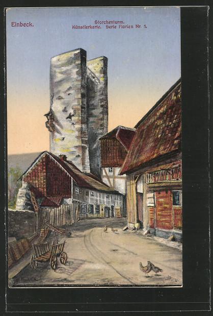 Künstler-AK Einbeck, Storchenturm 0