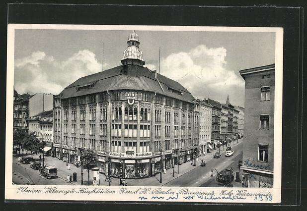 Lithographie Berlin, Union Vereinigte Kaufstätten GmbH, Brunnenstrasse Ecke Veteranenstrasse 0