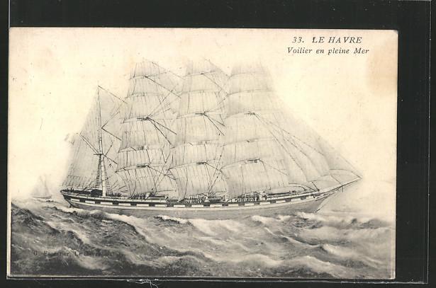AK Le Havre, ein grosses Segelschiff auf stürmischer See 0