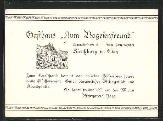 AK Strassburg, Gasthaus zum Vogesenfreund 0