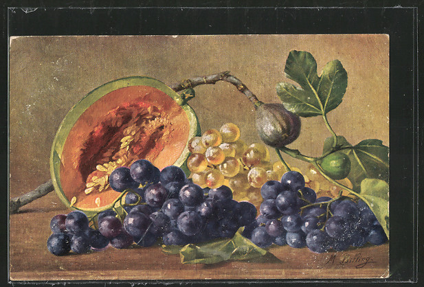 Künstler-AK M.Billing: Stilleben mit Trauben, Feigen und Melone 0