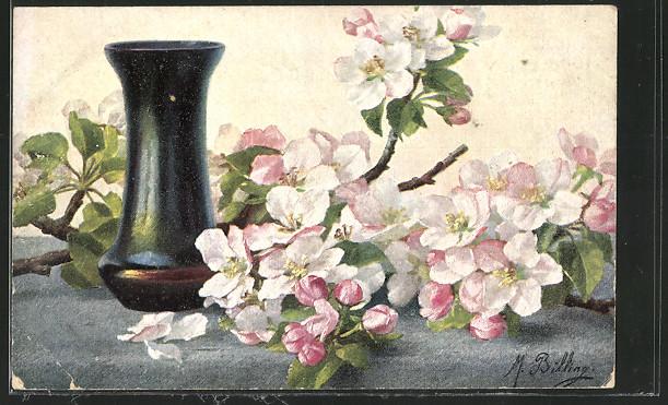 Künstler-AK M.Billing: Stilleben mit blühenden Kirschzweigen und Vase 0