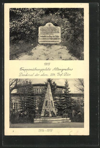 AK Altengrabow, Truppenübungsplatz, Denkmal der ehem. 234. Inf.Div. 0