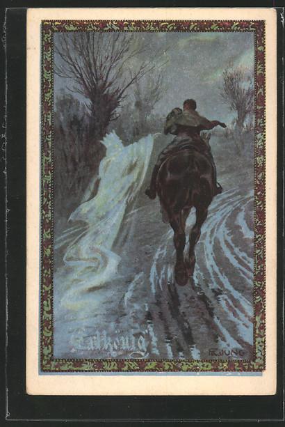 Künstler-AK Fr. Jung: Mann reitet durch die Nacht 0