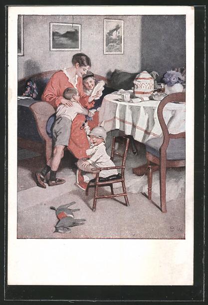 Künstler-AK Brynolf Wennerberg: Mutter liest den Kindern den Brief des Vaters von der Front vor 0
