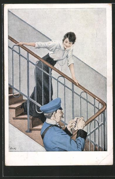 Künstler-AK Brynolf Wennerberg: Freudestrahlend erwartet eine Frau auf der Treppe den Postboten 0