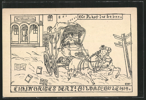AK Pforzheim, Absolvia der Hildaschule 1919. Fahrt ins Leben 0