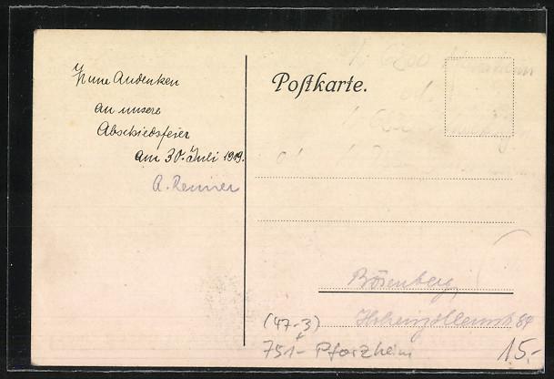 AK Pforzheim, Absolvia der Hildaschule 1919. Fahrt ins Leben 1