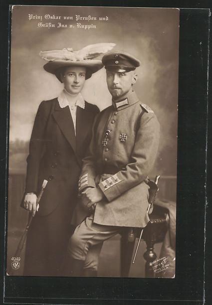 AK Prinz Oskar von Preussen und Gräfin Ina von Ruppin mit Hut 0