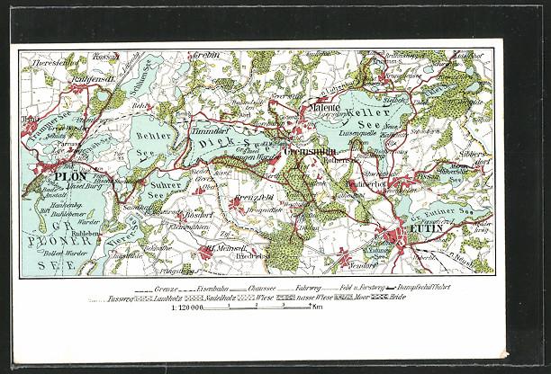 AK Eutin, Topographie-Karte 1:120.000 0