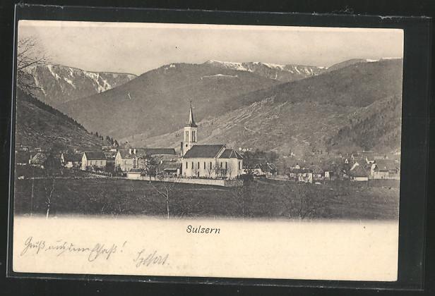 AK Sulzern, Ortsansicht mit Bergpanorama 0