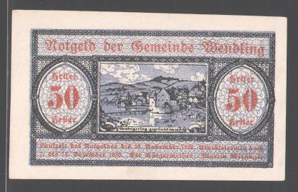 Notgeld Wendling, 50 Heller, Gesamtansicht 0