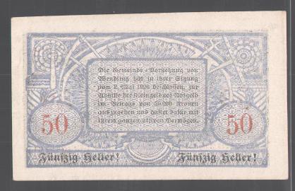 Notgeld Wendling, 50 Heller, Gesamtansicht 1