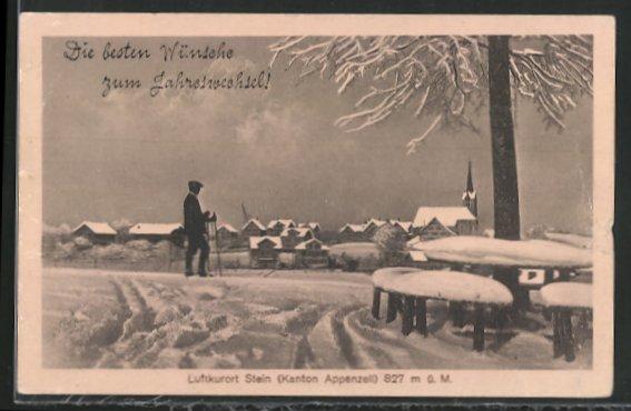 AK Stein, Stadtansicht im Winter 0