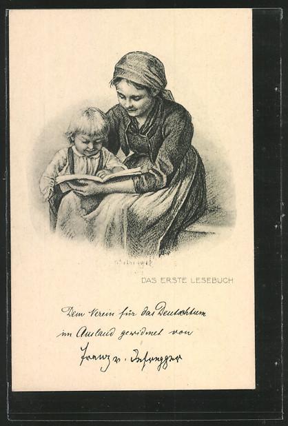 AK Das erste Lesebuch, Mädchen liest mit seinem Bruder 0
