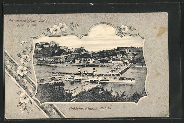 AK Koblenz-Ehrenbreitstein, Dampfer Kaiserin Auguste Victoria auf dem Rhein 0
