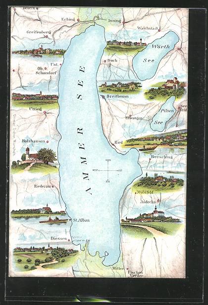 AK Diessen, Landkarte vom Ammer See mit Umgebungsansichten 0