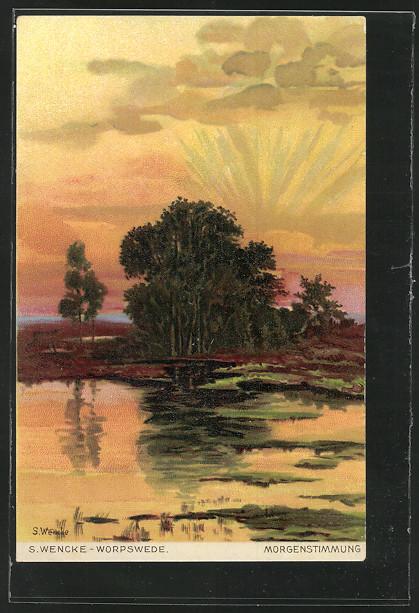 Künstler-AK S.Wencke: Morgenstimmung, Sonnenaufgang hinter einem Teich 0