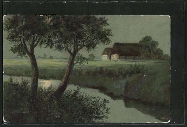 Künstler-AK S.Wencke: Bauernhäuser in einer Mondnacht 0