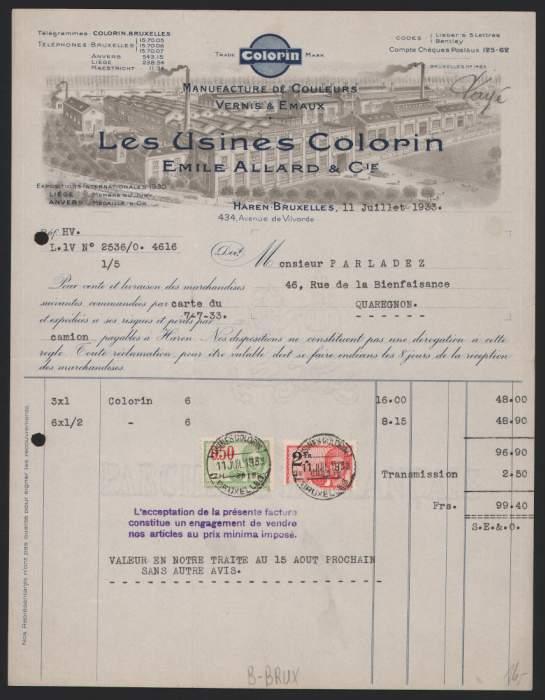 Rechnung Brüssel / Bruxelles 1933, Allard Manufactures de Couleurs Vernis & Emaux, Fabrikgebäude 0