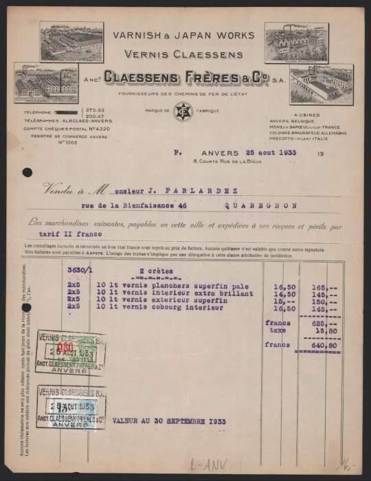 Rechnung Anvers 1933, Claessens Freres Varnish & Japan Works, Fabriken, Fabrikansicht 0