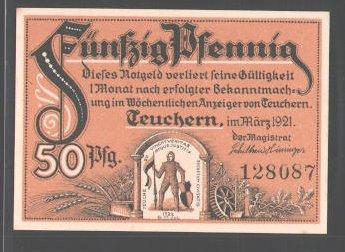 Notgeld Teuchern 1921, 50 Pfennig, Schutzpatron der Stadt, Uhrgläserwerk 0
