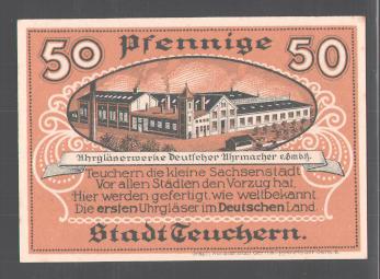 Notgeld Teuchern 1921, 50 Pfennig, Schutzpatron der Stadt, Uhrgläserwerk 1