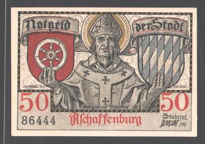 Notgeld Aschaffenburg 1921, 50 Pfennig, Stadtwappen, Jäger bläst das Horn 0