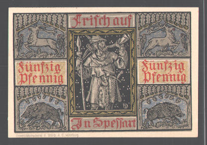 Notgeld Aschaffenburg 1921, 50 Pfennig, Stadtwappen, Jäger bläst das Horn 1