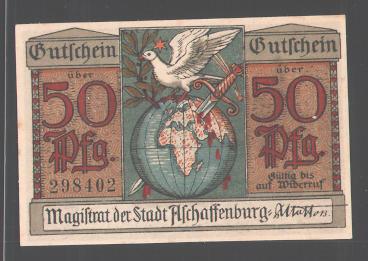 Notgeld Aschaffenburg, 50 Pfennig, Dolch in Erdball gerammt, Schloss 0