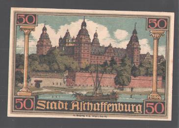 Notgeld Aschaffenburg, 50 Pfennig, Dolch in Erdball gerammt, Schloss 1