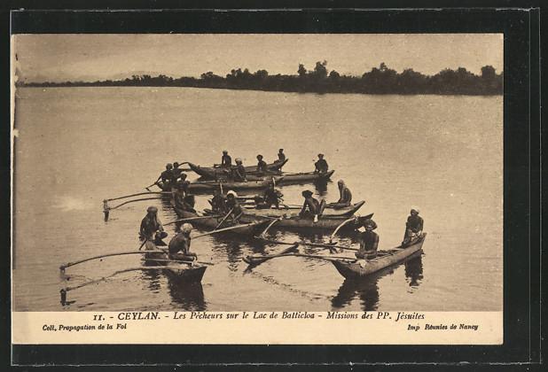 AK Sri-Lanka-Ceylon, Les Pecheurs sur le Lac de Batticloa, Missions des PP. Jesuits 0