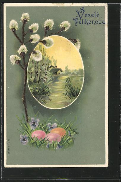 AK Osternest unter einem Weidenkätzchenzweig und Ansicht eines Hauses am See 0