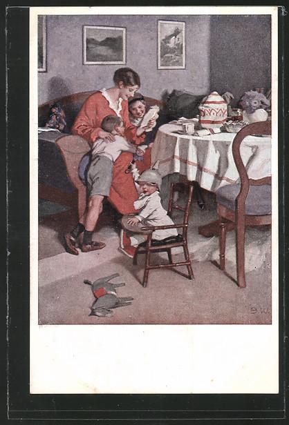 Künstler-AK Brynolf Wennerberg: Kriegspostkarte Nr. 9, Gute Nachrichten von der Front 0
