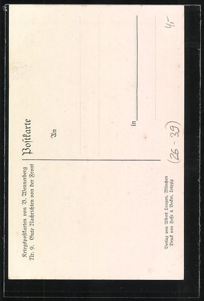 Künstler-AK Brynolf Wennerberg: Kriegspostkarte Nr. 9, Gute Nachrichten von der Front 1