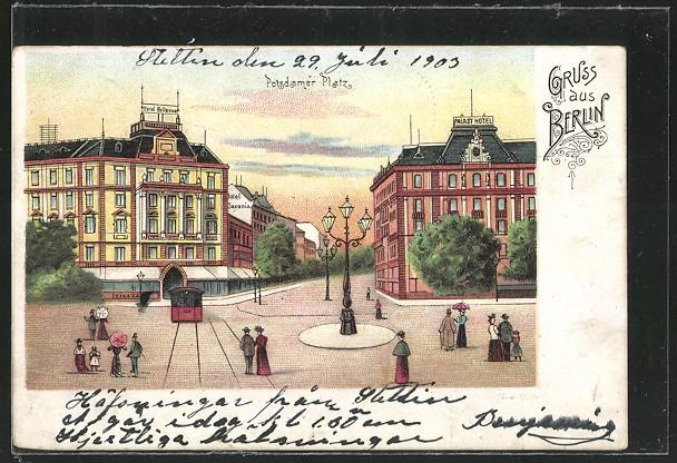 Lithographie Berlin-Tiergarten, Potsdamer Platz 0