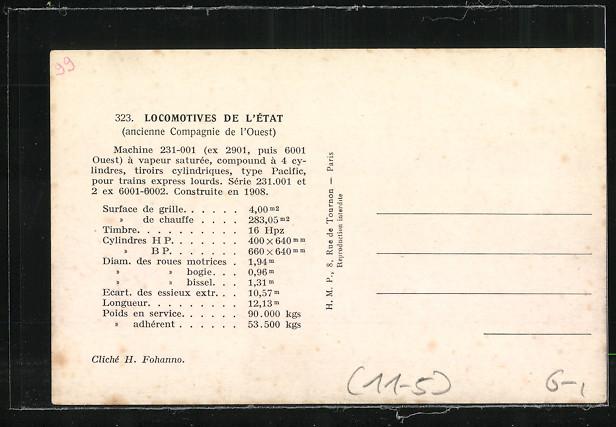 AK Locomotives de L`Etat, Machine 231-001, compound a 4 cylindres 1