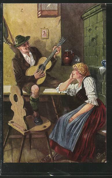 AK Mann spielt ein Lied auf einer Gitarre für eine Frau 0