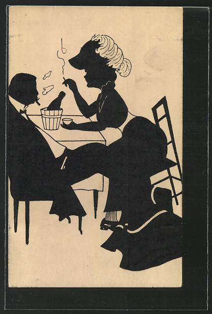 Künstler-AK M.Munk Nr.372: Silhouetten einer Frau und eines Mannes am Tisch 0