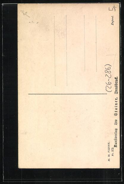 Künstler-AK M.Munk Nr.372: Silhouetten einer Frau und eines Mannes am Tisch 1