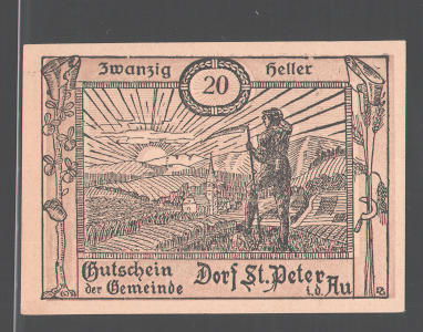 Notgeld St. Peter in der Au 1920, 20 Heller, Bauer mit Sense schaut sich den Sonnenuntergang an 0